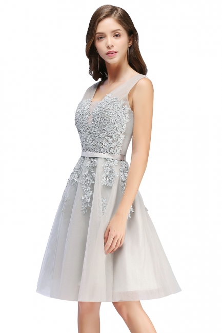 Sliver Grey  V-neck Mini Homecoming Dresses  Lace Appliques Tulle Party Dress