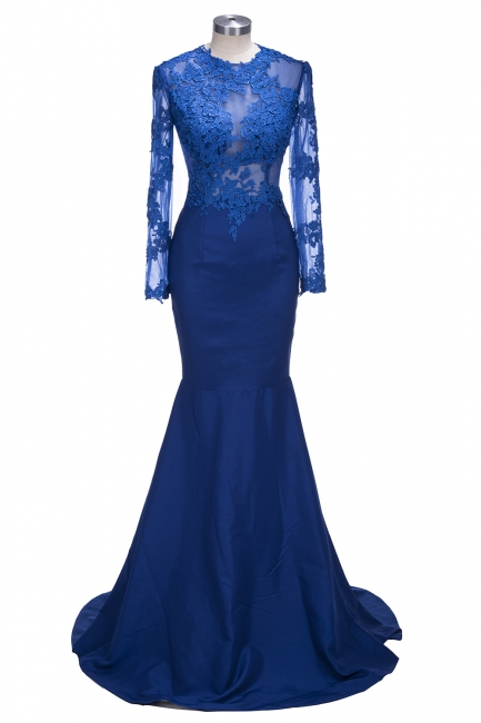 Royal Blue Long Sleeve Mermaid Evening Gown Sexy Court Train Lace Party Dress CE0128