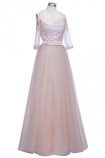 A-line Lace Glamorous Half Sleeves Evening Gown   Off The Shoulder Tulle Prom Dresses