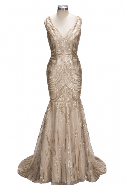 Deep V-neck Champagne Gold Sequins Prom Dresses  Mermaid Sleeveless Sexy Evening Gown FB0007