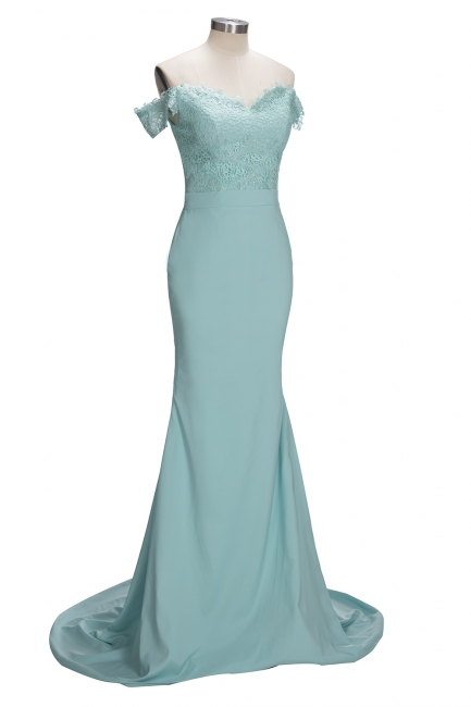 Lace Off The Shoulder Dress for Maid of Honor Mermaid Mint Long Bridesmaid Dress