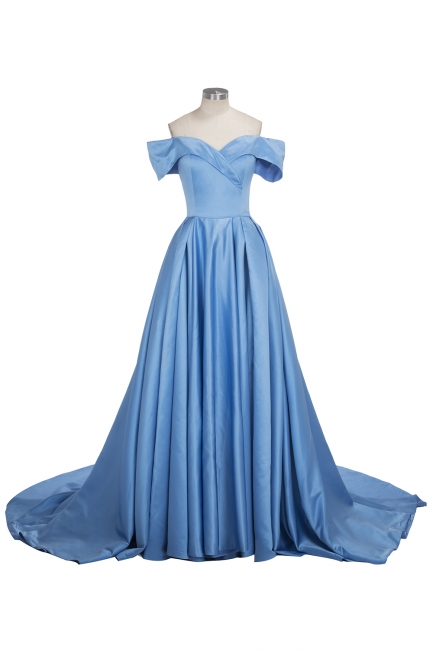 Off The Shoulder Blue Formal Dresses  Elegant Front Split Popular Evening Gown FB0095