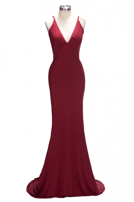 Burgundy Sexy Backless  Evening Gowns Deep V-neck Spaghetti Straps Party Dress CE0016