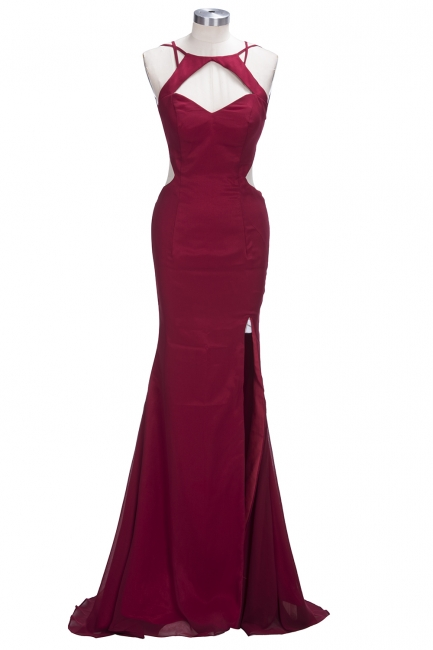 Sexy Cutaway Keyhole Burgundy Prom Dresses  Halter Open Back Evening Dress with Slit CE0029