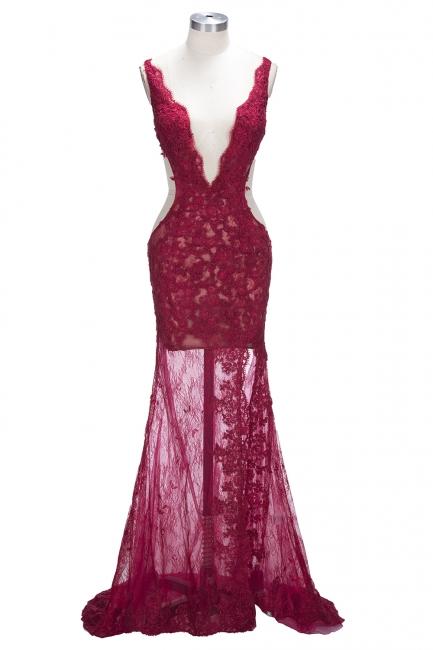 Sexy V-neck Sleeveless Formal Evening Dresses Front-Split Lace Mermaid Prom Dress BA6811