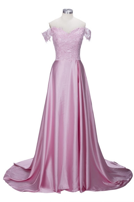 Off-the-Shoulder  Formal Dress Long Lace Split Floor Length Elegant Evening Dress