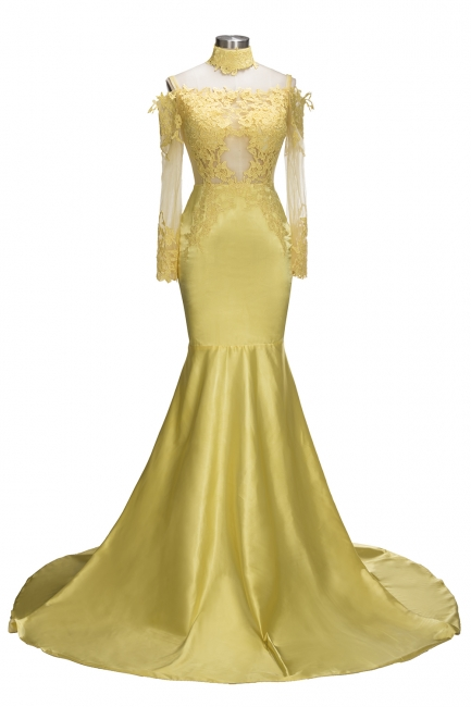Off The Shoulder Yellow Prom Dress | Mermaid Sexy Evening Dress with Lace Chocker FB0295