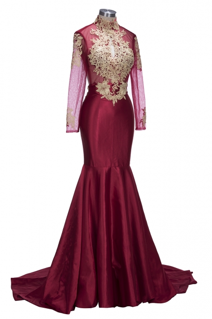 Gold Appliques Keyhole  Burgundy Open-Back Long-Sleeves Mermaid Prom Dresses LY164