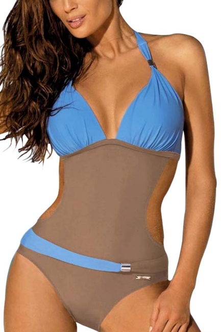 One-Piece Halter Waist Exposed Swimsuit