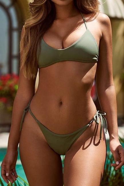 Multi-colors Strip Bikini Swimsuit Set