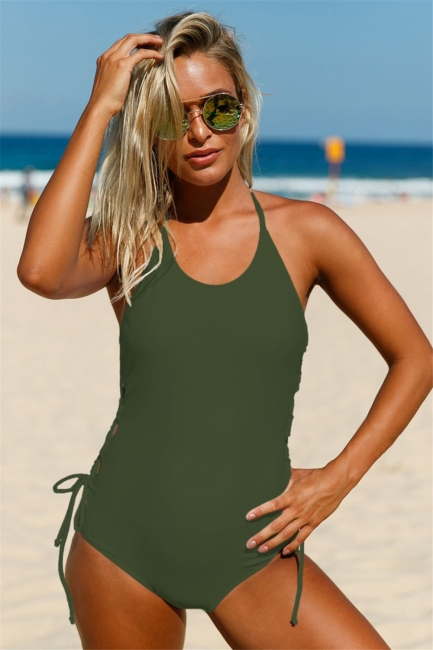 Halter Neckline Army Green Lace up Sides Monokini