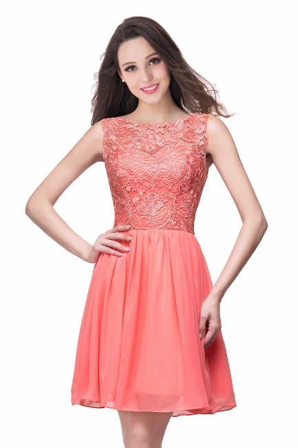 New A-line Chiffon Lace Zipper Short Homecoming Dress