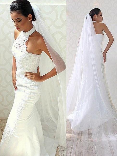Glamorous Sweep Train Sleeveless Satin Halter Mermaid Wedding Dresses | Bridal Gowns On Sale