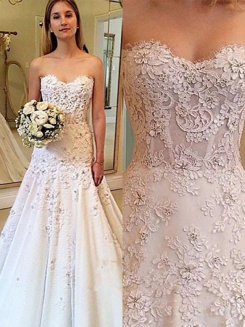 Alluring Strapless Sweetheart Lace Wedding Dresses Sleeveless Appliques Court Train Brial Gowns On Sale