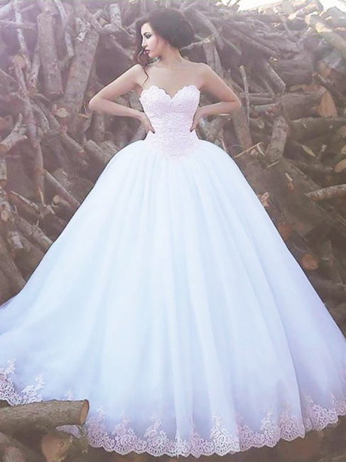 Stylish Puffy Sweep Train Sleeveless Sweetheart Organza Wedding Dresses   Bridal Gowns On Sale