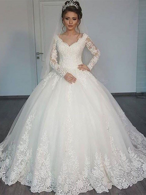 Affordable Long Sleeves Court Train Tulle Puffy V-neck Wedding Dresses | Bridal Gowns On Sale