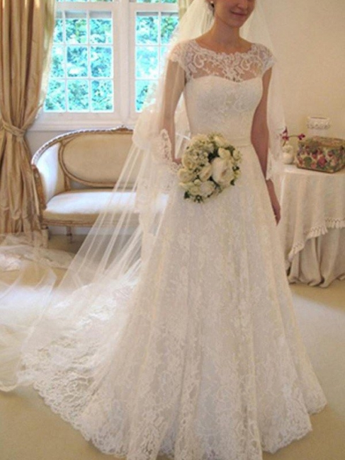 Jewel Lace A-Line White Wedding Dresses Short Sleeves Appliques Court Train Bridal Gowns On Sale