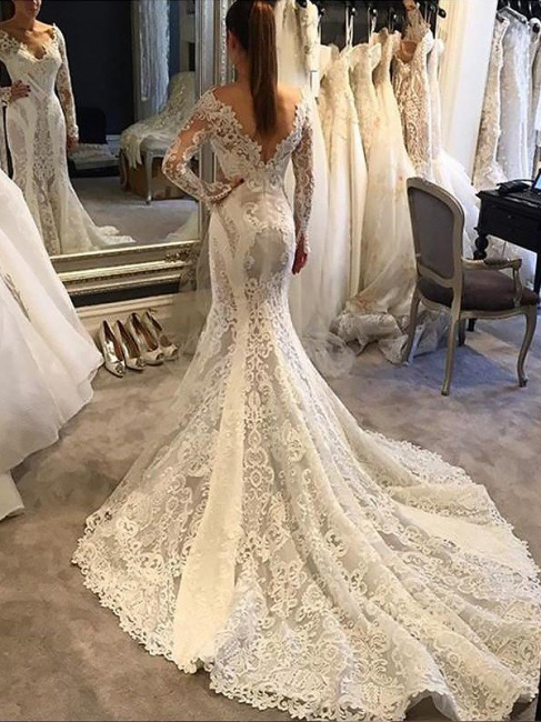 Stunning V-Neck Chiffon Lace White Wedding Dresses Long Sleeves Appliques Bridal Gowns with Court Train
