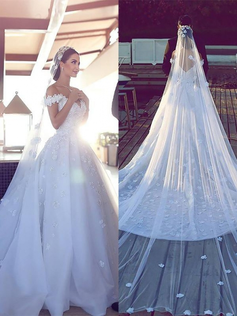 Affordable Chiffon V-Neck Satin Wedding Dresses Chapel Train Sleeveless Bridal Gowns On Sale