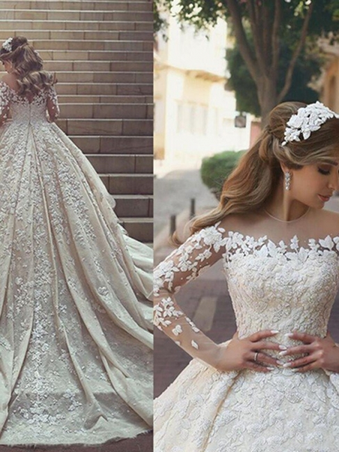 Stylish Satin Jewel Chapel Train Lace Wedding Dresses Long-Sleeves Appliques Bridal Gowns Online
