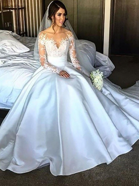 Glamorous A-Line V-Neck Satin Lace White Wedding Dresses Long Sleeves Appliques Bridal Gowns with Court Train