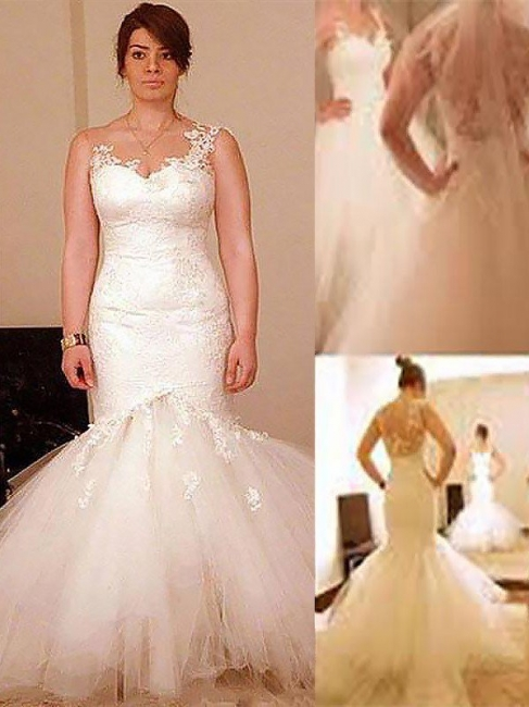Stunning Straps Mermaid Organza Appliques Wedding Dresses Lace Sleeveless Sweetheart Bridal Gowns On Sale