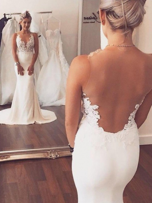 Unique Sleek Satin Court Train Mermaid Wedding Dresses Applique Sleeveless Scoop | Bridal Gowns On Sale