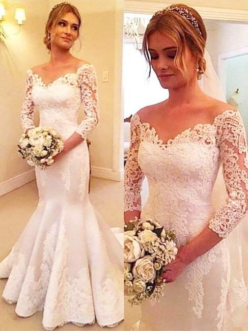 Stunning Off-the-Shoulder Mermaid Wedding Dresses Satin Lace 3/4 Sleeves Bridal Gowns with Court Train On Sale