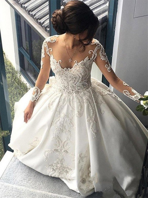 Puffy Scoop Cathedral Train Applique Wedding Dresses Long Sleeves Satin | Bridal Gowns On Sale