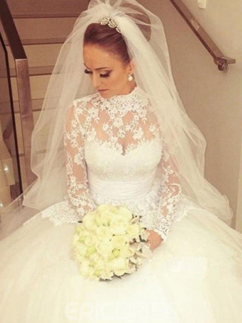 Gorgeous Cathedral Train Ribbon Wedding Dresses High Neck Lace Long-Sleeves Bridal Gowns On Sale
