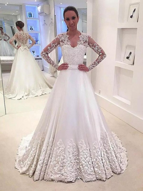 Stylish V-neck Satin Sweep Train Long Sleeves Wedding Dresses | Bridal Gowns On Sale