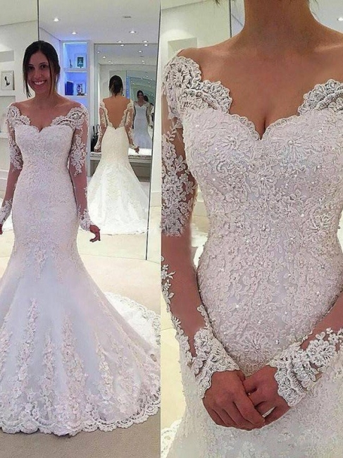 Affordable Long Sleeves V-neck Lace Court Train Mermaid Tulle Wedding Dresses | Bridal Gowns On Sale