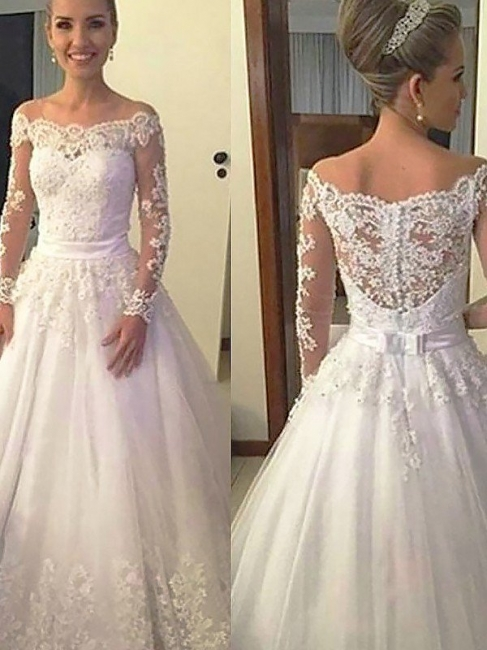 Unique Irresistible Off-the-Shoulder Long Sleeves Wedding Dresses Court Train Puffy | Bridal Gowns On Sale