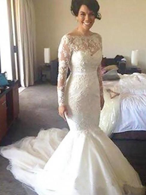 Unique Court Train Long Sleeves Wedding Dresses Tulle Applique Bateau | Bridal Gowns Online