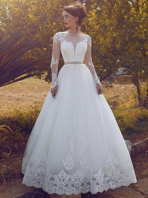 Chic Sleek Tulle Floor-Length Long Sleeves Puffy Bateau Wedding Dresses | Bridal Gowns On Sale