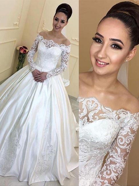 Gorgeous Off-the-Shoulder Satin Lace Wedding Dresses Appliques Long Sleeves Court Train Bridal Gowns On Sale