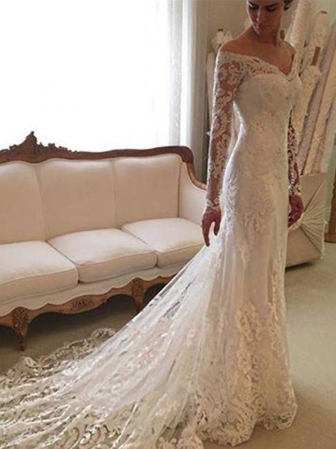 Stylish Long Sleeves Off-the-Shoulder Court Train Sheath Lace Wedding Dresses | Bridal Gowns On Sale