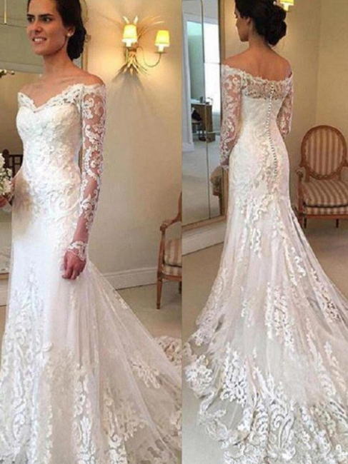 Gorgeous Off-the-Shoulder Lace Mermaid Wedding Dresses Long-Sleeves Appliques Court Train Bridal Gowns Online