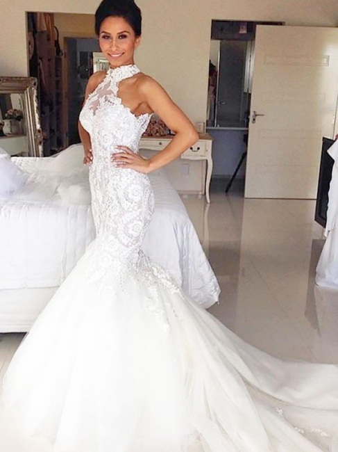 Affordable Tulle Halter Lace White Mermaid Wedding Dresses Sleeveless Appliques Bridal Gowns with Court Train
