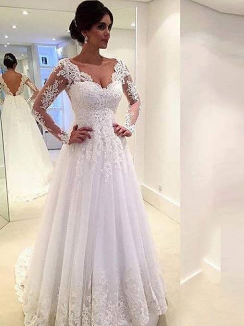 Unique V-neck Puffy Tulle Court Train Lace Wedding Dresses Long Sleeves | Bridal Gowns On Sale