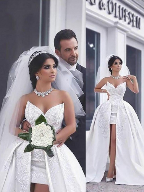 Elegant Sleeveless Chapel Train Sweetheart Beaded Satin Puffy Wedding Dresses | Bridal Gowns On Sale