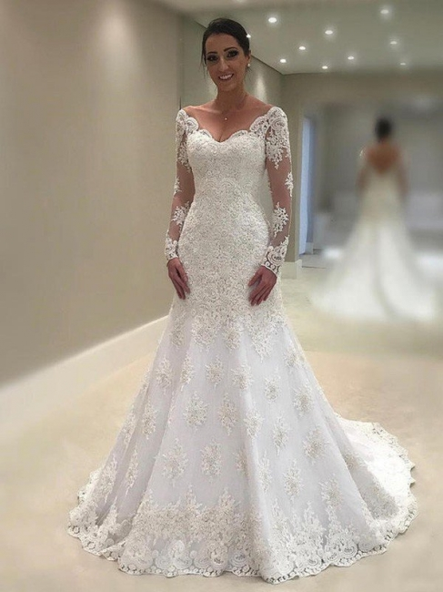 Chic Long-Sleeves Court Train Wedding Dresses V-Neck Applique Lace Mermaid Bridal Gowns Online