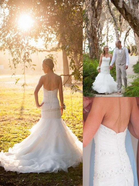 Alluring Sweetheart Mermaid Crystals Tulle Wedding Dresses Sleeveless Appliques Bridal Gowns with Court Train