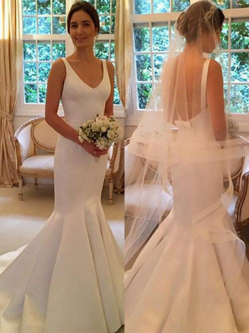 Sleeveless V-neck Satin Sweep Train Mermaid Wedding Dresses | Bridal Gowns On Sale