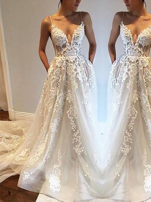 Chic Irresistible Tulle Spaghetti Straps Wedding Dresses Sleeveless Court Train   Bridal Gowns On Sale