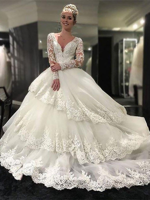 Gorgeous Lace Tulle Court Train Long Sleeves V-neck Puffy Wedding Dresses   Bridal Gowns On Sale