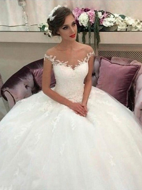 Affordable Sleeveless Off-the-Shoulder Tulle Court Train Puffy Wedding Dresses | Bridal Gowns On Sale