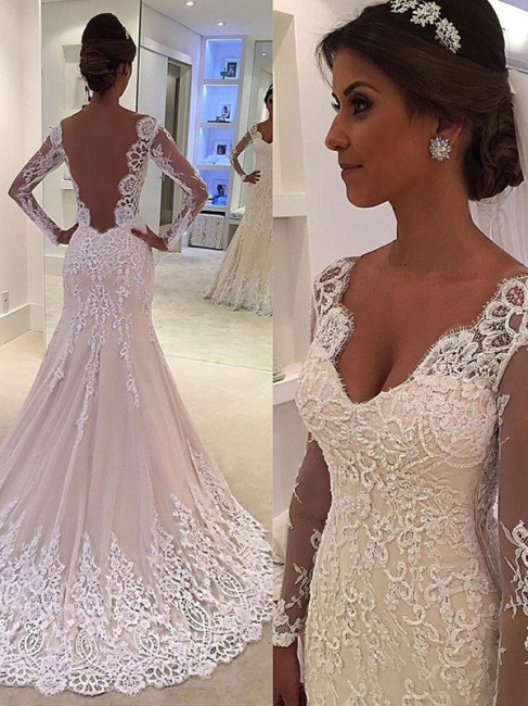 Glamorous Tulle Lace V-Neck Mermaid Wedding Dresses Long-Sleeves Appliques Court Train Bridal Gowns On Sale