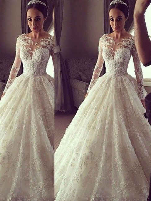 Alluring Scoop Lace Court Train Ivory Wedding Dresses Long Sleeves Appliques Bridal Gowns On Sale