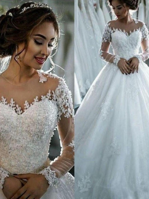 Elegant Scoop Applique Long Sleeves Tulle Wedding Dresses Puffy Chapel Train | Bridal Gowns Online